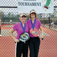 Sheila Parkinson and Dianne Zimmerman Gold Medal winners 4.5, 50 plus age division women's doubles.