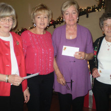 These Lady Putters scored the highest number of holes-in-one for their flight for last season. They were recognized for their accomplishment at the recent holiday luncheon. They are left to right Kathy Mindnich, Tuesday Sisk Park with 12, Carol Leavitt Tuesday Oakwood with 20, Edite Evans, Thursday Sisk Park with 19, and Anna Mae Calgaro, Wednesday Sisk Park with 18. Absent for the picture was Shauna Duncan, Monday Sisk Park with 23.