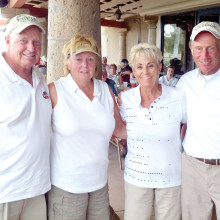 The foursome of Rick and Deb Ebel, Nettie Dingler and Jamie Breit were the winners! Skill, luck and matching outfits were the secret of their big win. Later, when the 50/50 raffle winner was drawn, the Ebels' luck continued as their ticket was pulled and they won over $350.