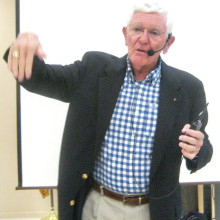 Rear Admiral Dennis Wisely (U.S. Navy ret.), described his dogfight with enemy MIG 17 fighters during the Vietnam conflict at a Sun Lakes Aero Club (SLAC) gathering February 15. Photo by Gary Vacin.