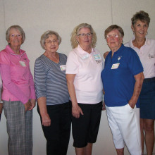 Winners of the SunBird/Sun Lakes Niner Scramble with a tied score of 32 are (left to right) Marlys Buss, Betty Desrochers, Lorraine Brammer, Paula Neuser, Donna Quinn, Mary Cravens and Betty Wainwright
