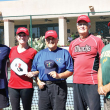 The Club Love Tournament winners receive their braggin' rights hats. From left to right: Jim Berney, Patricia Koepp, Bob Michael, President, Gene Nelson and Steve Dockter.