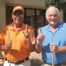 Jerry Cisneros (left) and Jack Hill are the Lucky Shot Pool Club winter playoffs in 8-Ball and 9-Ball, respectively. Photo by Gary Vacin.