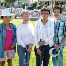 Lady Putters waiting for their game to begin are (left to right) Elaine Greer, Sharon Gouthro, Mary Lou Murdock and Pat Kruse
