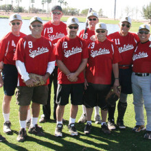 """Winter league champs, left to right are Billy Kreisman, Mike Levine, Ralph Vasquez, """"Big Al"""" Grefsheim, Tim Baldwin, Mgr. Larry Kaufmann, Stan Weiss, Bill Stanick, Dave Rinaldo and Jerry Smith. (Photo courtesy of Core Photography, LLC.)."""