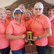 PVLGA wins 2016 Traveling Team Trophy. Back row: Nancy Howell, Carol Ruff, Carole Guild and Paddy Newton. Front row: Rose Hames, Cindy Bosch, Colleen Mitchell and Jo Crook. Missing is Bonnie Moore.