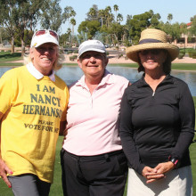 First Flight winners: 3rd Nancy Hermanson, 2nd Mary Nelson, 1st Terry Gaube