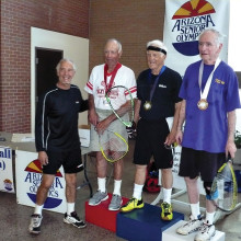 Pictured (left to right) Raymond Bernier, volunteer official with Neil Durham, Francis Florey and John Galbraith on the ASU podium.