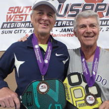 David Zapatka and Don Simmons Bronze Medal winners of the 4.5, 60 plus age division.