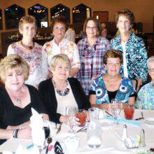 Enjoying the Lady Putters' spring lunch are seated (left to right) Paula Lauer, Inez Kirscht, Madeline Mazzei and Jan Abbey; standing left to right are Jan Wilkinson, Shirley Arendt, Shirley Werab and Chris Kibler. This group is part of the Tuesday Oakwood Lady Putters.