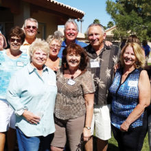 Officers for the Sisk Bocce Ball Club (l-r): Gary Vacin, Sue Donovan, Jane Cambridge, Roy Parfitt, Irene D'Aloisio, Sharon Bicchieri, Jim Roberts, Beth Derheim, Paul Hester, Diane Severa, and Harry Bicchieri; photo by Doc Hester.