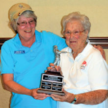 Low Net Champion Linda Trisch (left) and Jo Williams