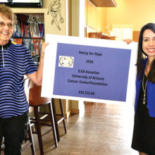 Joni Hiller, 2016 Swing for Hope Chair, presents ILGA's check for $10,753 to the University of Arizona Foundation representative, Jeanette Gemoll.
