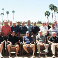 Members of the Men's IronOaks Nine Hole Golf Association, the Niners, gather on the patio of the Oakwood clubhouse after enjoying a fantastic lunch (photo by league photographer Bruce McCorkle).