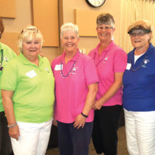 Pictured (left to right) Rosie Raisanen, Carole Kinderman, Susan Geis, Jackie Aagaard, Donna Sullivan, Betty Desrochers. Rosie Raisanen and Jackie Aagaard were members of the winning teams.
