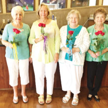 Cottonwood Ladies Bridge installs new officers – (left) Vice President Dee Guthrie, President Gloria Danker, Secretary Karen Sanchez and Treasurer Judy Ligas