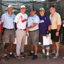 Sizzlin' Seven: Top hitters (left to right) are Larry Kaufmann, Steve Hilby, Tom Kasunic, Randy Nuemann, Bill Corso, John Whitman and Dave Martin. Top 10 hitters absent from photo: Tim Baldwin, Reyes Gonzales and Chuck Myrick (photo courtesy of Core Photography).