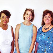 Rebecca Garrett, center, flanked by Garden Club members Carol Harlacher and Starla Kramer after presentation on water conservation.