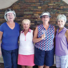 The June Riggs Road League winners are Pat Schultz and Carol Ruff, both from Palo Verde. Congratulations to Diane Grosse from Sun Lakes, who had a hole in one! And on the right is Elaine Osborn from Ironwood.