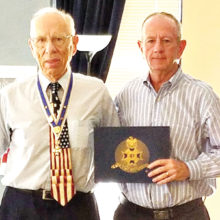 "At the June CWPV BOD meeting, Bob Sjolin of The National Society of the Sons of the American Revolution presented a special award to Cottonwood Palo Verde HOA No. 2, for ""Exemplary Patriotism in the display of the Flags of the United States of America"". GM, Steve Nolan accepted on behalf of the Board of Directors."