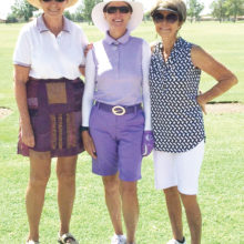 Pictured left to right are Eleanor Hinerichsen, Glo Malmberg and Barbara DeNapoli with big smiles prior to play. Note the cool apparel!