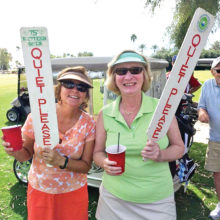 Cheryl Bunch and Mary Oester keeping things quiet on the golf course.