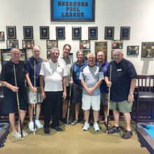 """IronOaks Breakers Pool League players are from left to right: David """"The Godfather"""" Mork, Bill """"The Assassin"""" Lange, Jerry """"Slick"""" Vickery, and our Team Captain Keith """"The Rabbi"""" McDonald; the Mission Royale Members left to right: Tom, Daryl, Steve and Tom (photo by Charlie """"Chef"""" Nerko, League member)."""
