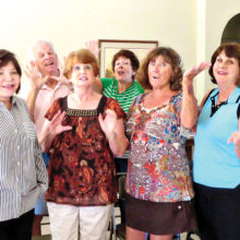 The Joy of Life singers join the cast of Dearly Departed November 8-12 in the San Tan Ballroom at Cottonwood. The singers are front row: Marilyn Holt, Tenni Annen, Sharon Guzman, Andrea Pearson and Director Chris Roen; back row: Jim Nielsen, Steve Schneck and Janine Schneck; not pictured: Jim Brown, Judie Janowski, and Susan Schlesinger.