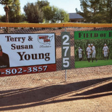 Advertise your business on the outfield fence at the Field of Dreams. See our article for more details.