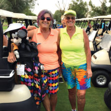 Bev Lutes, (left) and Colleen Ritter (right) added some colorful garb to a cloudy day at a recent CAGD event. Way to brighten things up, ladies!