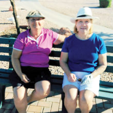 A couple of the winners from the last months play. Mary Nelson and Nancy Gahn