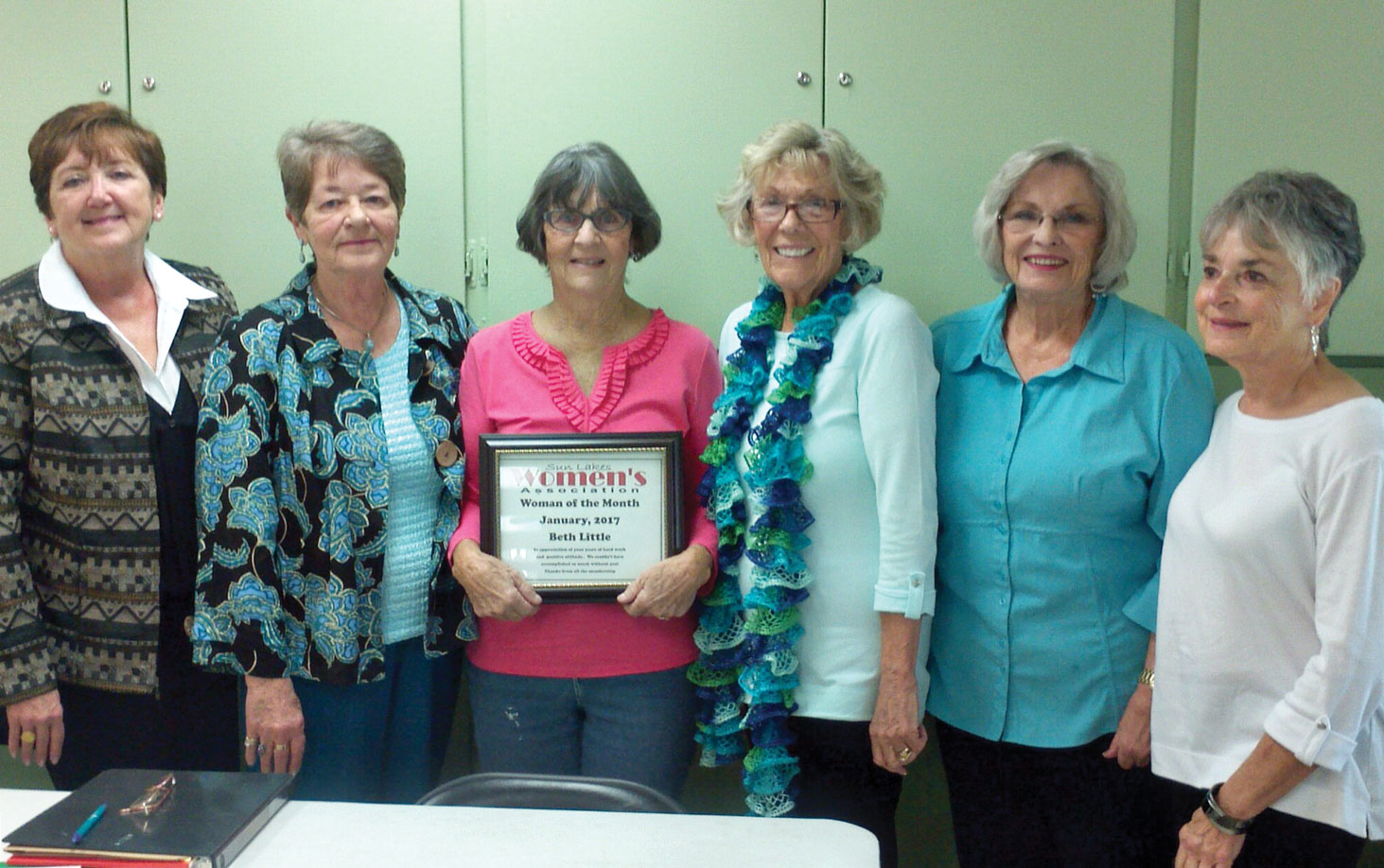 The Sun Lakes new management team and our first ever Woman of the Month winner Beth Little. From left: Judy Caniglia, Sandy Bealmear, Beth Little, Marge Shipe, Pat Vachon and Sonja Diemert