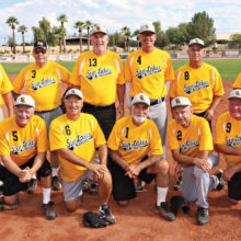 The Fall League Champions: Front row kneeling, l-r: Bob Hutchins, Mike Willits, Larry Maggert, Gary Alexander and Jim Entwhistle. Back row, l-r: Manager Jim Leckner, Ed Sowney, John Whitman, Tom Kasunic, Tim Loeffler and Tom Vitolo (Photo courtesy of Core Photography, LLC)