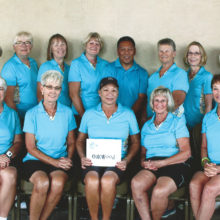 Pictured back row (left to right) Kathy Burns, B.J. Schuller, Roselyn Hoiby, Debbie Horner, our Pro Eddie Renio, Shirley Weaver, Barbara Anderson and Pat Schepp; front row Beth Ebmeier, Debra Foster, Carol Russell, Nancy Annen and Mary Dyrseth