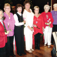 Recently the Lady Putters met for their Christmas luncheon and the flight leaders were recognized for their leadership. They are (left to right) Marcia Gaudioso and Marg Pippit, Thursday; Carol Wenger, Wednesday; Marge Duggan, Tuesday Oakwood, Dianne Burns, Tuesday; Camille Jasien, Monday; and Monica Lovrien, Tuesday. Also, prizes were awarded through raffle drawings which serves as our organization's fundraiser for local charities.