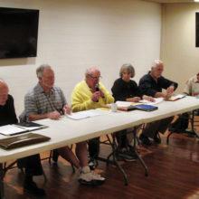Sun Lakes Tennis Club board meeting: Paul Patterson, treasurer; Dan Thorsen, vice president; Ed Campion, president; Faye Haynes, secretary; Denis White, Inter club tournaments and Tony Horn, Intra Club tournaments