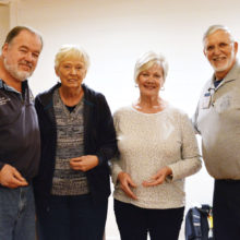 Brian Curry, Shirley Hutchings and Pat Weitzel with program coordinator Scott Jaeger; photo by LouAnn Sedgwick