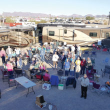 "There were many ""happy campers"" at the Sun Lakes Roadrunners rally in Quartzsite, Arizona, in January"