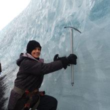 Tami Bogdanoff on the Ice Glacier - Iceland in January