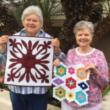 Edna Hayn and Martha Powell display the handwork that has earned them Master Quilter recognition by the Agave Quilters Guild. Both small quilts and two others will be silent auction items at the Agave Quilt Show on April 1 at Sun Lakes Country Club.