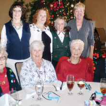 Enjoying the Lady Putters Christmas luncheon from the Thursday Flight group are standing (left to right) Penny Angelina, Wende Levy, Marcia Gaudioso and Edite Evans; seated (left to right) Penny Quinn, Sharon O'Sullivan, Teddy Cole and Lucy Geller.