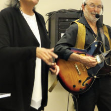 """Mary Burke and Rod Hayward demonstrated various styles of music as part of their """"Music Inside Out"""" series during New Adventures' spring semester."""
