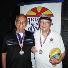 Gerry Vogelsang and Bill Jepson with their Gold medals in doubles