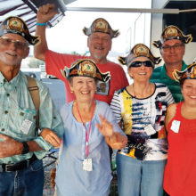 Sun Lakes Roadrunners RV Club members who served as Wagon Masters at the Lake Havasu rally: Back row (left to right) Ron Doggett and Don Wall; Front row (left to right) Clint Anderson, Julie Anderson, Mikal Doggett and Lisa Wall