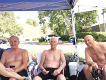 Left to right: Ken McKinney (age 78) four golds, four silvers and one fifth place; Al Worth (age 81) three golds and five silvers; Robert Sears (age 90) five golds