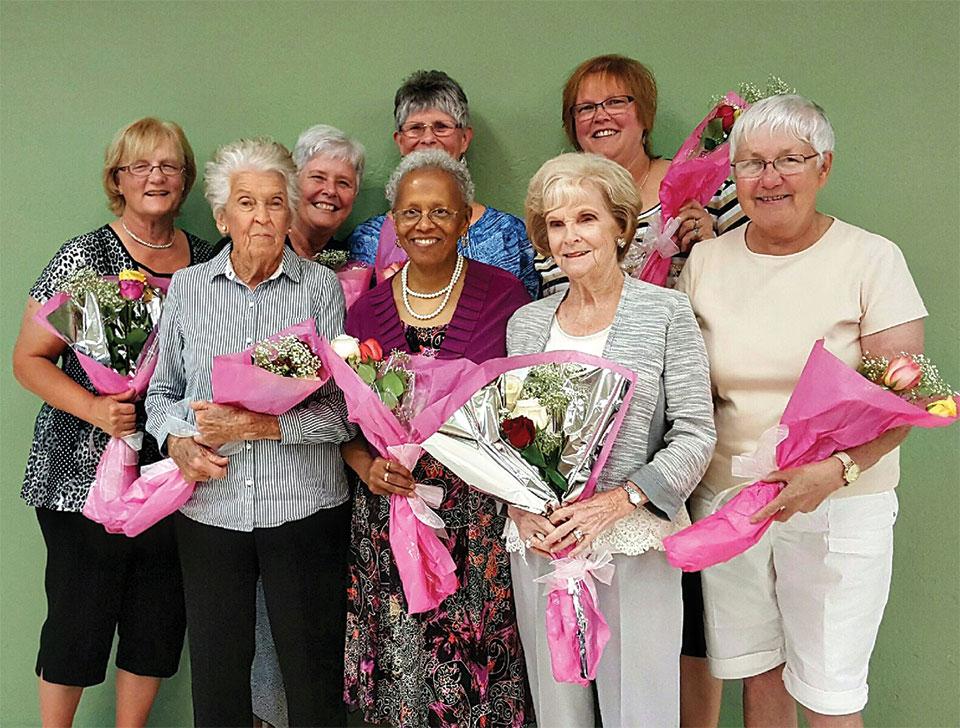 Back row (left to right) Donna Sullivan, Susan Geis, Jackie Aagaard and Rosie Raisnen; Front row (left to right) Betty Wainwright, Teri Nasett, Myrna Graves and Joann Brown