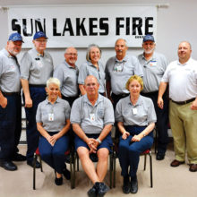 The 2017 class of the Sun Lakes Fire District's Community Assistance Program, bottom row from left: Suzanne Boak, Carl Schell and Linda Hewitt; top row from left: Lead Instructor Brian Curry, Head of Training Bob Bruce, Benny Davis, Judy Banyai, Jim Mottern, CAP Coordinator Scott Jaeger and SLFD Chief Troy Maloney (photo by Mike Berry)