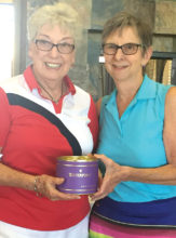 The 3rd flight winner is Lois Coomans pictured with club President Betty Schechter