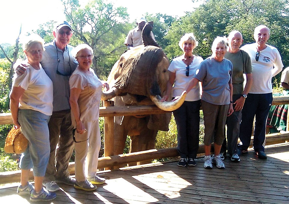 Paula and George Jauch, Jeanette and Ray Rajamaki, Judy Mical and Bev and Len Herring in Africa