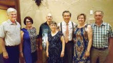 Left to right: Tim and Carol Tyrrell, Treasurer; Stu and Deanna Frost, Secretary; John Yu, President; Bev and Don Dorge, VP Membership